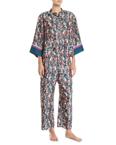 Tea Garden Mandarin-Collar Classic Pajama Set