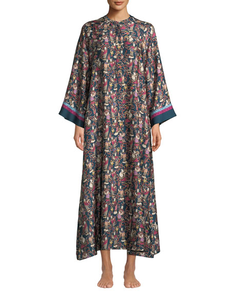 Natori Tea Garden Zip Lounge Caftan, Plus Size