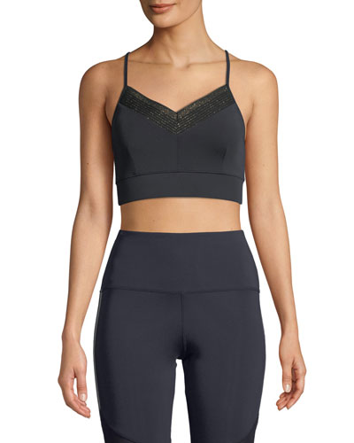 Hadley Metallic Cross-Back Sports Bra