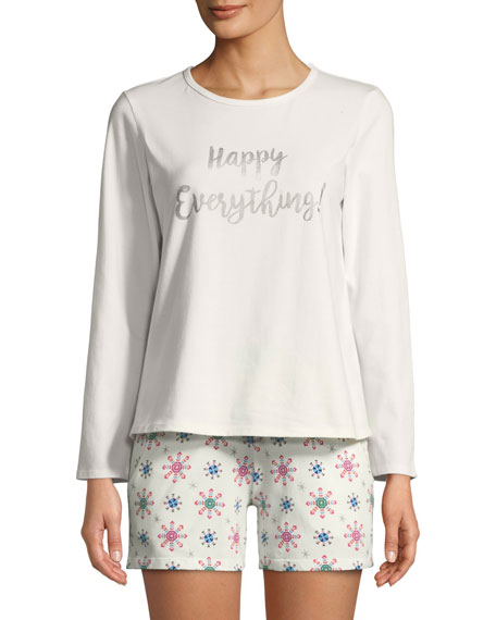 Happy Everything Long-Sleeve Short Holiday Pajama Set