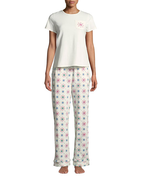 Bedhead Holiday Snowflake Pocket Tee Pajama Set