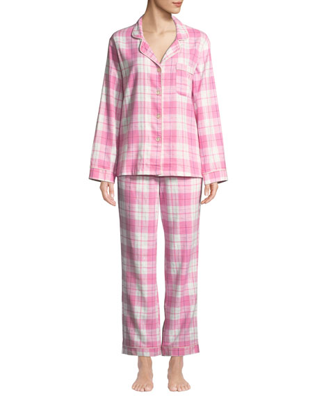 BEDHEAD PLAID FLANNEL CLASSIC PAJAMA SET WITH METALLIC DETAIL