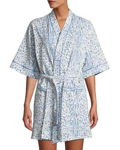 Cheetah Half-Sleeve Short Robe