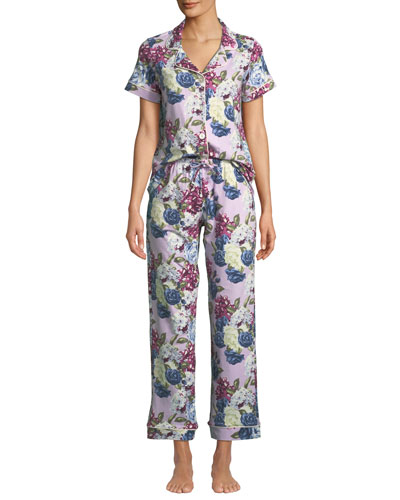 Floral Jewels Short-Sleeve Long Pajama Set