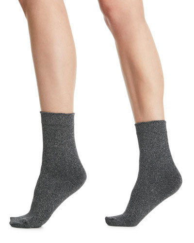 Joan Soft Metallic Knit Ankle Socks