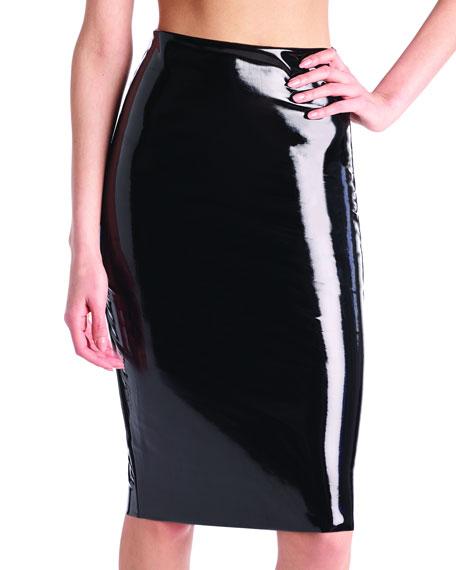 Commando Perfect Patent Faux-Leather Midi Skirt Shaper