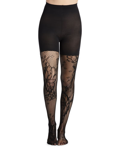 Mid-Thigh Shaping Floral-Fishnet Tights