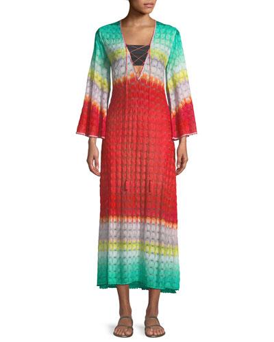 Multicolor Lace-Up Long Caftan