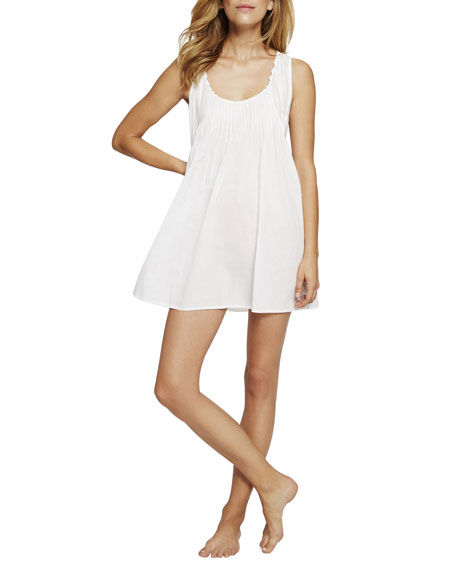 POUR LES FEMMES Sleeveless Pintuck Short Nightgown in White