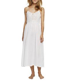 Lace Inset Long Nightgown by Pour Les Femmes
