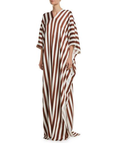 V-Neck Vertical-Stripe Viscose Long Caftan Dress