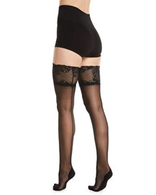 Feathers Escape Back Seam Thigh Highs Stockings by Natori