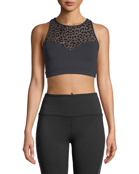 kate spade new york leopard-print mesh racerback sports