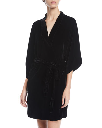 English Rose Velvet Short Robe