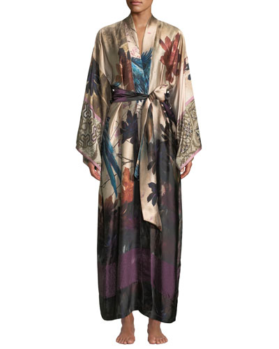 Phoenix Floral Long Silk Robe