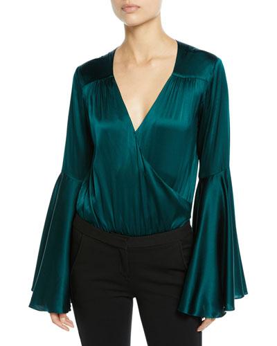 Bell-Sleeve Silk V-Neck Bodysuit