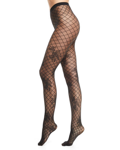 Helena Net-Pattern Tights with Floral Motif