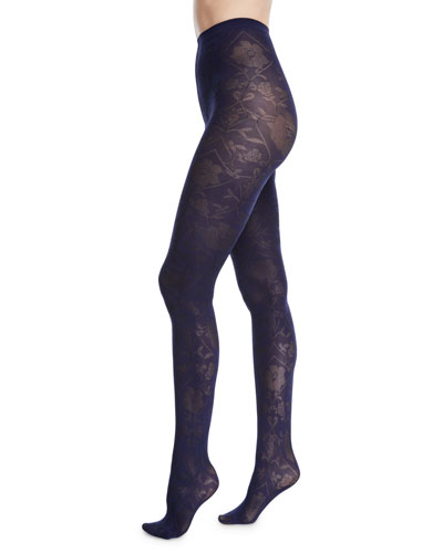 Rosa Opaque Leaf-Pattern Tights
