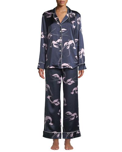 Lila Constance Lobster-Print Classic Silk Pajama Set 13a4ccee1
