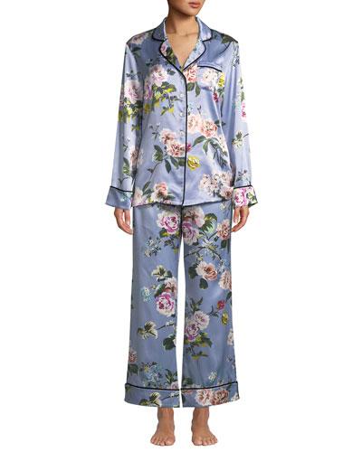 Lila Agatha Floral Silk Classic Pajama Set