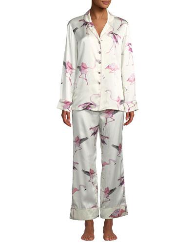 Lila Peregrine Flamingo Silk Classic Pajama Set d31f0d107