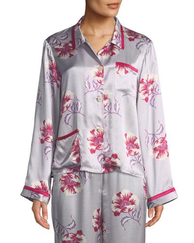 Esmeralda Ruthie Floral-Print Silk Pajama Top