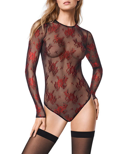 Lea Long-Sleeve Floral-Lace String Bodysuit