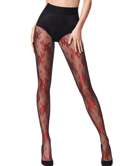 e2ef92415 Wolford Lea Metallic Floral-Pattern Tights