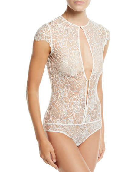 Kiki De Montparnasse Coquette Floral-Lace Keyhole Bodysuit Bridal