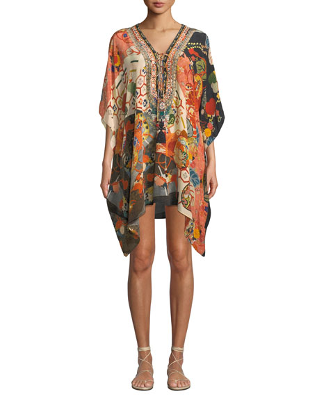 Camilla PRINTED EMBELLISHED LACE-UP SHORT COVERUP KAFTAN