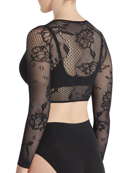 Open-Weave Floral Arm Tights Shaper Top