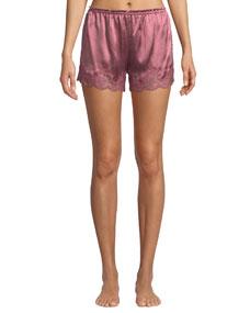 Kira Lace Trim Silk Tap Shorts by Vivis