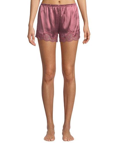 Kira Lace-Trim Silk Tap Shorts