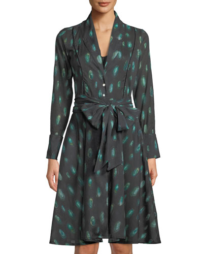 Laina Peacock Feather Button-Front Robe
