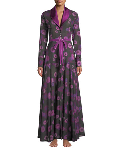 Dahlias Floral-Print Long Robe