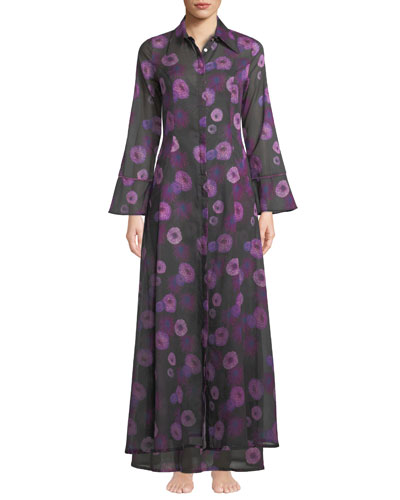 Hydra Floral-Print Button-Front Caftan