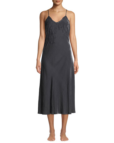 Doriana Velour and Lace Nightgown