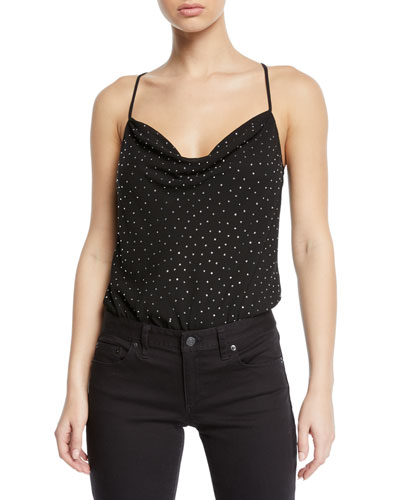 Cosmo Embellished Cowl-Neck Bodysuit