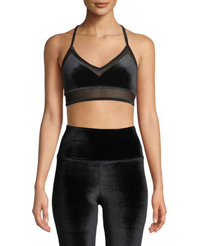 Luxe Velour Sports Bra with Mesh Panels
