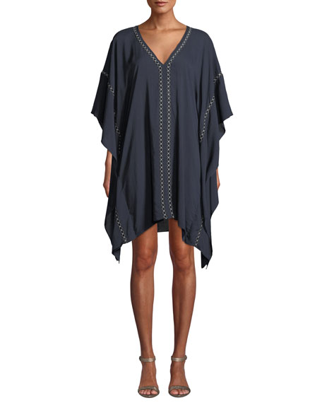 Embroidered V-Neck Coverup Caftan