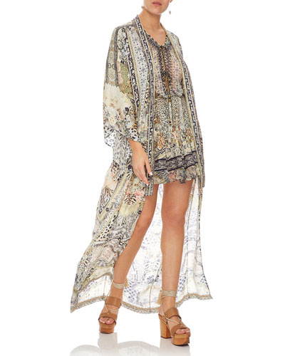 Embellished Silk Long Kimono Coat Coverup
