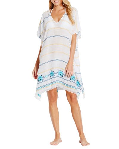 Sunflower Striped Embroidered Coverup Kaftan