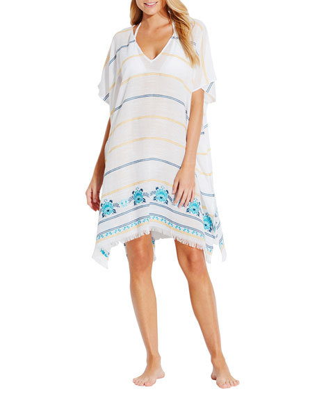 Seafolly SUNFLOWER STRIPED EMBROIDERED COVERUP KAFTAN