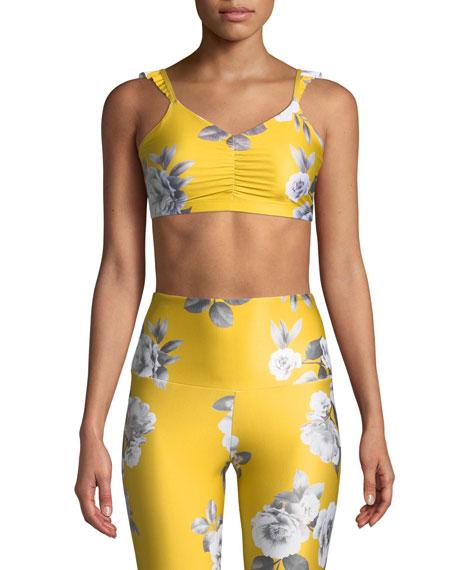 La Femme Ruffle-Strap Cinched Floral Sports Bra