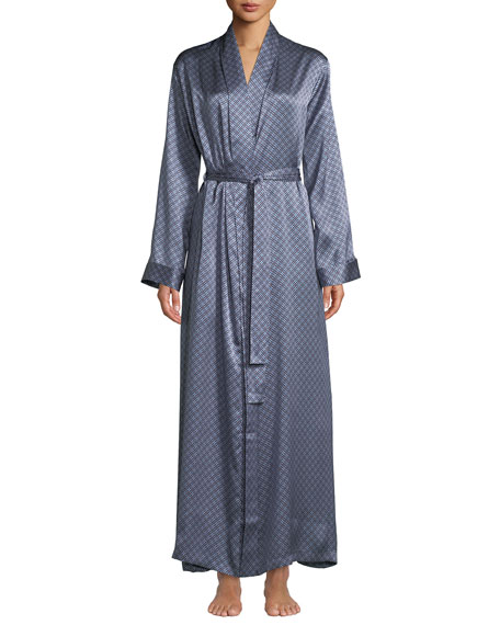 Brindisi Long Medallion-Print Silk Robe