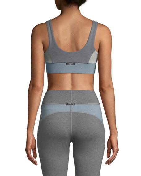 Mist Zip-Front Colorblock Sports Bra