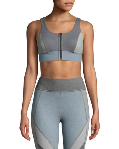 Mist Zip-Front Colorblock Sports Bra