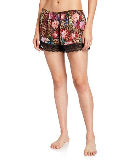 Lise Charmel Corolle Fauve Floral-Print Satin Lounge Shorts