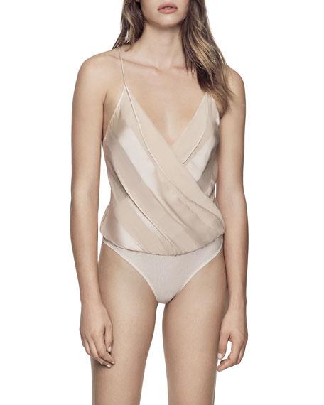 Kiki De Montparnasse Silk Striped Wrap Bodysuit