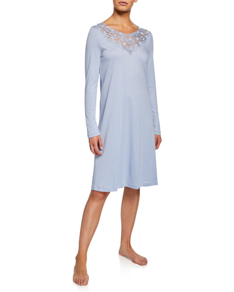 Image 1 of 1: Aurelia Long-Sleeve Nightgown with 3D Floral Lace Detail